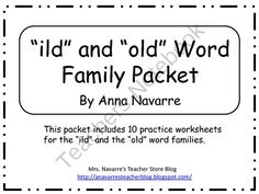 """""""ild"""" and """"old"""" Word Family Packet from Mrs. Navarres Shop on TeachersNotebook.com -  (12 pages)  - """"ild"""" and """"old"""" Word Family Packet"""