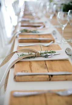 Cutting boards for placemats with rosemary sprig accents!