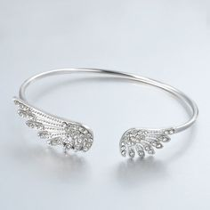 Korean Style Rhinestone Angle Wings Adjustable Chic Lovely Bangles Women Girl Charm Bangle Barcelets Gifts Fee shipping