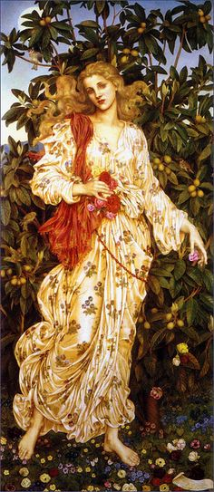 ⊰ Posing with Posies ⊱ paintings of women and flowers - Lilla Cabot Perry - 'Flora' by Evelyn Pickering De Morgan (1894)