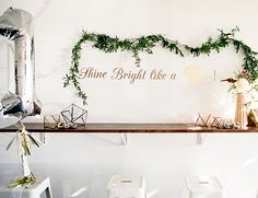 Shine Bright Like a Diamond wall decal accented with florals and vines