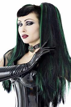 HAIR FALLS Black Green gothic cyber goth Lolita punk vamp dreads wig fetish Headrazor. $50.00, via Etsy.