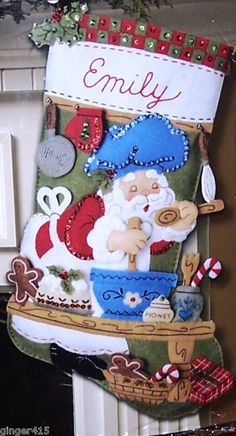 "Bucilla's ""CHEF SANTA"" BAKING Felt Christmas Stocking Kit Factory Direct OOP"
