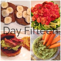 Day Fifteen of the 21 Day Sugar Detox. Pumpkin Pancakes, Spaghetti with Zucchini Noodles, Jalapeño Bacon Burgers with Veggie Pancakes as buns, Carrots with Guacamole. 21dsd, Paleo, clean eating, gluten-free, dairy-free, sugar-free.