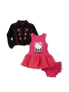 Hello Kitty Baby   3-Piece Jacket Set  3-Piece sent includes tank dress with tulle overskirt and matching bloomers, mandarin-collar jacket has snap closure, piped trim and back graphicFabric: 100% cottonCare instructions: Machine washCountry of origin: ChinaAuthentic product