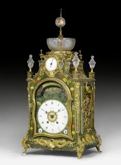 PAINTED MANTEL CLOCK WITH AUTOMATION AND MUSICAL WORK,  George III, the dial signed MARKWICK MARKHAM BORRELL LONDON (watch company in London, active between 1793 and ca. 1826), the replaced movement stamped PLANCHON PARIS (Mathieu Planchon, active in the second half of the 19th century), England, ca. 1800/20.  Wood painted with colourful flowers, gilt bronze and cut glass. Enamel dial with Turkish numerals between 2 striking disks and music disks, and automation with movable boats and water game