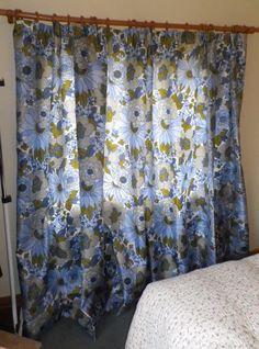Vintage 1960s 70s Long Glass Fibre Curtains Iconic Blue Daisy Design Unbranded VintageRetro