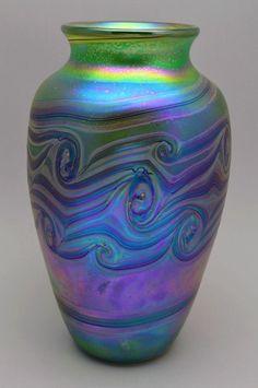 Large Amazing Bohemian Art Nouveau Style Iridescent Vase
