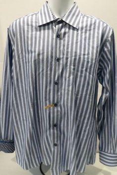 BUGATCHI-UOMO-Flip-Hidden-Cuffs-Size-Large-L-S-Shirt-Navy-Blue-White-Geometric