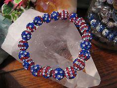 "New 8"" US American Flag USA Shimmer Cuff Shamballa Crystal Ball Rustic Bracelet"