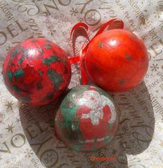 Boules Noël décoration tradition rouge et vert, paillettes rouges : Accessoires de maison par creasoize