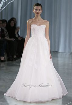 monique lhuillier - wedding dress - bridal - collection - fall 2013 - darling - blush tulle strapless a-line gown with gathered skirt, lace detail and detachable tulle streamers, blush magnolia ruched tulle cummerbund