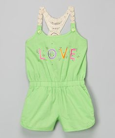Love this Lime 'Love' Romper - Infant, Toddler & Girls by Pink House on #zulily! #zulilyfinds