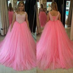 Pink Ball Gown Prom Dresses Tulle Skirt Fully Beaded Bodice pst0054 on Storenvy