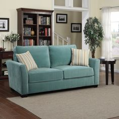 Portfolio Tara Turquoise Blue Velvet Sofa with Summer Blue Stripe Accent Pillows   Overstock.com Shopping - Great Deals on PORTFOLIO Sofas &...