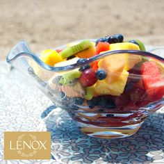 Organic Inspiration | The Collection also made me think of shell motifs, which inspired this outdoor look. This Organics Wave Footed Bowl makes a perfect serving dish for the colorful fruits of the season. © 2012 Ellin Smith | Product Featured: Organics Collection.  #iheartlenox
