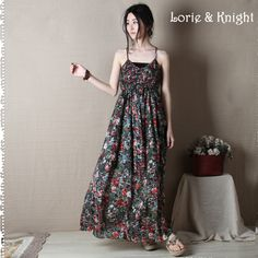 Feminine Floral Printing Mori Girl Summer Women's Maxi Dress Spaghetti Strap Cotton Beach Dress Online Shopping at a cheapest price for Automotive, Phones & Accessories, Computers & Electronics, Fashion, Beauty & Health, Home & Garden, Toys & Sports, Weddings & Events and more; just about anything else