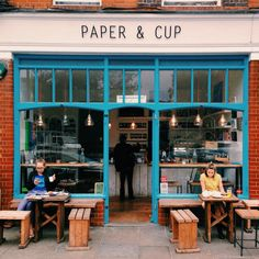 Paper & Cup Coffeeshop, Shoreditch, London #restaurant #identity #food #reused #exterior #cafe #branding