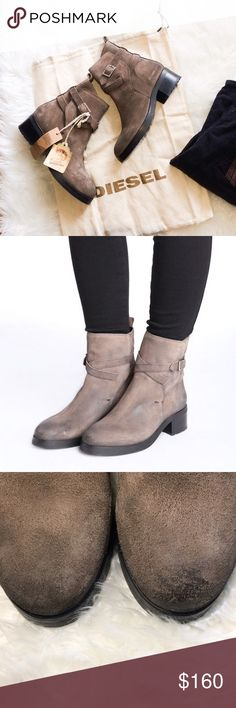 NWOB Diesel brown distressed leather boots 7 Comes with dust bag, boots are factory distressed and in great condition. Size 7 Diesel Shoes Ankle Boots & Booties
