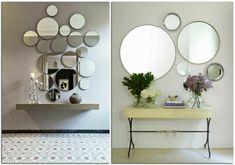 ideas con espejos redondos de diferente tamaño, recibidores de encanto con pequeñas mesas y decoración de flores Decor, Bathroom Mirror, Mirror, Bedroom, Round Mirror Bathroom, Interior, Home Decor, Furniture