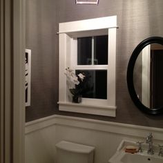 Chair Rail Powder Room Design Ideas, Pictures, Remodel, and Decor
