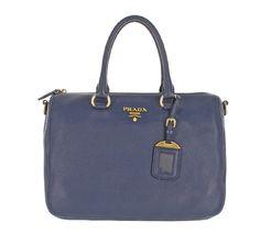 82b84e70ba0ffd Prada Women's Navy Blue Vitello Phenix Leather Adjustable Handbag ...
