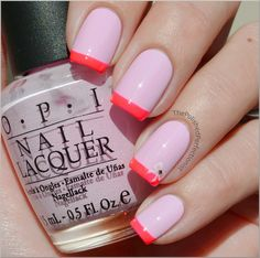 ADorable two-tone pink french with bow/rhinestone accent (OPI Mod About You + China Glaze Pool Party)