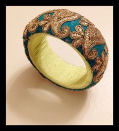Gold Embroidered and lime green threaded by NatashaGuptaJewelry, $92.00