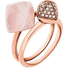 Michael Kors Blush Stacking Ring Set (525 RON) ❤ liked on Polyvore featuring jewelry, rings, rose gold, cabochon jewelry, pyramid jewelry, rose ring, golden jewelry and golden ring