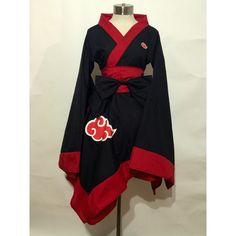 Naruto Akatsuki Kimono Dress Set ($66) ❤ liked on Polyvore featuring dresses, sleeved dresses, bow dress, kimono dress, kimono sleeve dress and asymmetrical hem dress