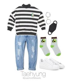 """""""Bangtan Outfit / #2"""" by youaremorethanbeautiful ❤ liked on Polyvore featuring MANGO, Moscot and adidas Tomboy Outfits, Kpop Fashion Outfits, Korean Outfits, New Outfits, Cute Outfits, Hijab Fashion, Bts Clothing, Bts Inspired Outfits, Teen Fashion"""