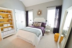 Gray, white, purple with pops of yellow.  Lovely~~~ Resources at:  http://canoodle.wordpress.com/2012/10/25/guest-bedroom-reveal-finally/