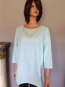 Bob Mackie Wearable Art Cotton Tunic Top L Mint Designer Fashion Embelished Chic   eBay