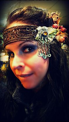 Amber Forest Tribal Fusion Headband by BoldOracle on Etsy