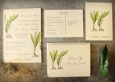 Wedding Invitations DIY Printable Downloadable Vintage Style Wedding Invitations Botanical Wedding Invitations. $50.00, via Etsy.