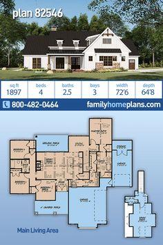 Bungalow, Craftsman, Farmhouse House Plan 82546 with 4 Beds, 3 Baths, 3 Car Garage Modern Farmhouse Plans, Farmhouse Homes, Country Farmhouse, Craftsman Farmhouse, Craftsman Style, New House Plans, Dream House Plans, House Floor Plans, Dream Houses