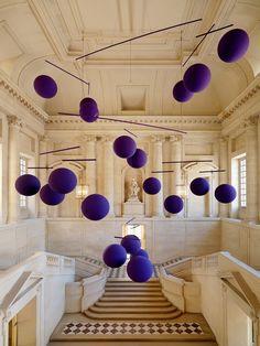 interior design, balls, purple, mobiles, art, xavier veilhan, thought bubbles, balloons, stainless steel