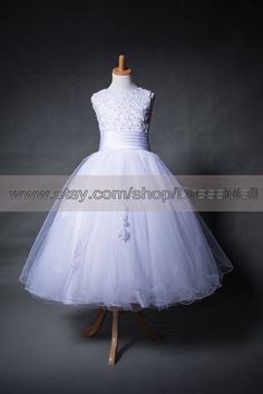 White First Communion Dresses Tea Length Girl's por DressMall