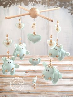 Mint Baby Mobile Heart & Hippo Nursery Decor Ideas by LollyCloth