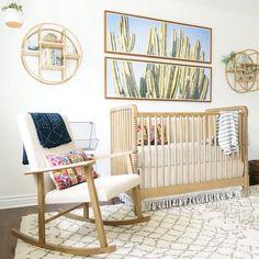 amazing neutral nursery by Kathryn Miller Interiors, cactus art, natural crib . http://Liapela.com