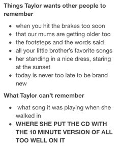 Taylor Swift and remembering part 2