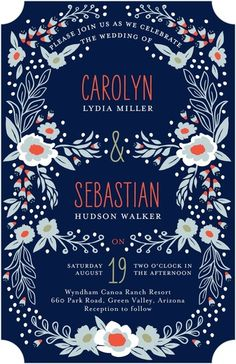 Floral Arbor - Signature White Wedding Invitations - Petite Alma - Baltic - Blue : Front