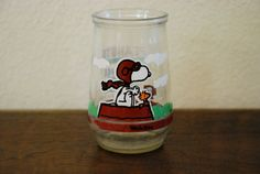 Vintage Welch's Jelly Jar  Peanuts Flying Ace 7 by calalamod