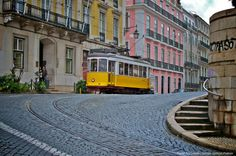 Old tram in Lisbon, Portugal.