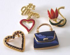 Set of 4 Vintage Enameled and Crystal Pins - Love For Mom by TreasureByDemand on Etsy