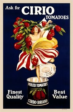 Cappiello Cirio Tomatoes 1921 France - This vertical french poster advertising canned tomatoes features a women coming out of the can surrounded by tomatoes. Vintage French Posters, Vintage Food Posters, Pub Vintage, Images Vintage, Vintage Advertising Posters, Vintage Labels, Vintage Advertisements, Vintage Prints, Creative Advertising