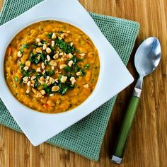 Slow Cooker Thai-Inspired Butternut Squash and Peanut Soup with Red Bell Pepper, Lime, and Cilantro from Kalyn's Kitchen  featured on SlowCookerFromScratch.com