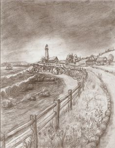Lighthouse Road - pencil illustration by Ave Hurley now available at Imagekind starting at $9.49