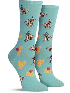 Did you know bees communicate with each other by dancing and wiggling their bodies? You can do the same thing in these super unique animal socks covered in bustling bees, surrounded by their favorite