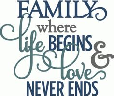 Silhouette Online Store - View Design #55010: family where life begins love never ends - layered phrase